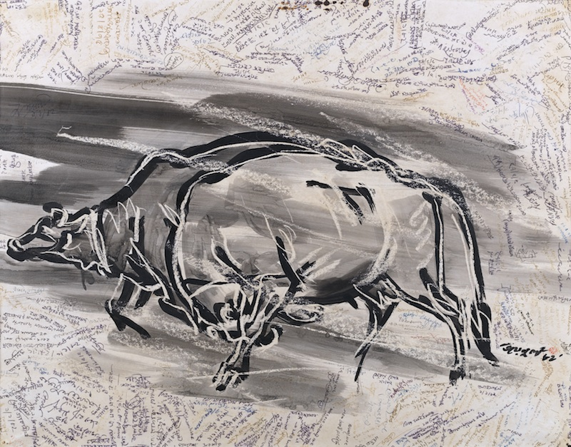 'Rebel Cows', 1975, Brush, ink, and wax on paper, 52x70.5 cm, Shilpacharya Zainul Abedin Sangrahashala, Mymensingh, Bangladesh