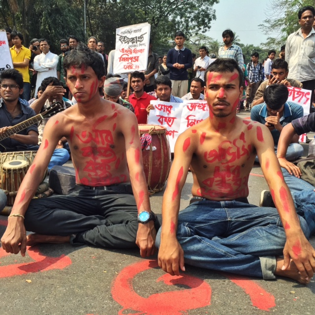 Students with protest slogans painted on their chest, as Noor Hossain had done in 1987, when he was gunned down by police. Photo: Shahidul Alam/Drik/Majority World