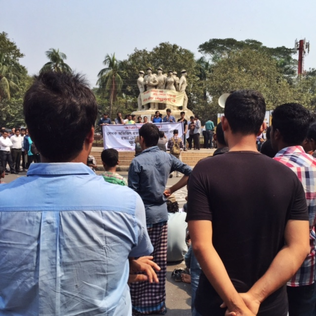 Protests at TSC roundabout on 27th February, the morning after the murder. Photo: Shahidul Alam/Drik/Majority World
