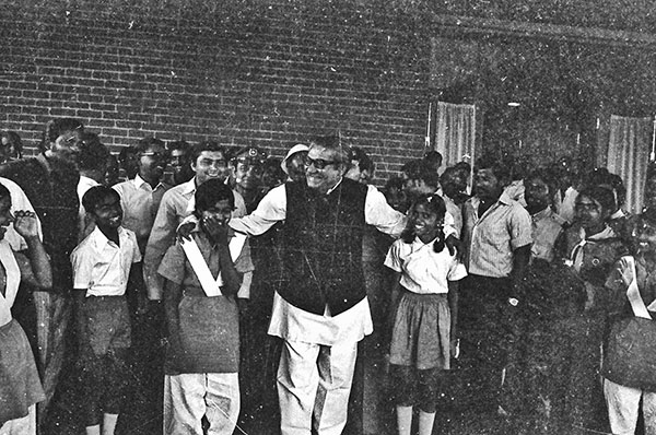 Father of the Nation, Bangabandhu Sheikh Mujibur Rahman with girl scouts. Photo: Rashid Talukder/Drik/Majority World